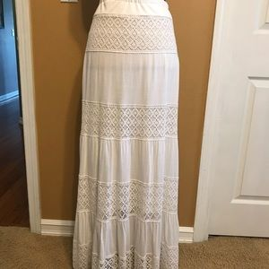 I.N.C. Boho Maxi Skirt Wide Crotchet Trim